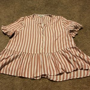 Madewell size medium pink and white stripe blouse
